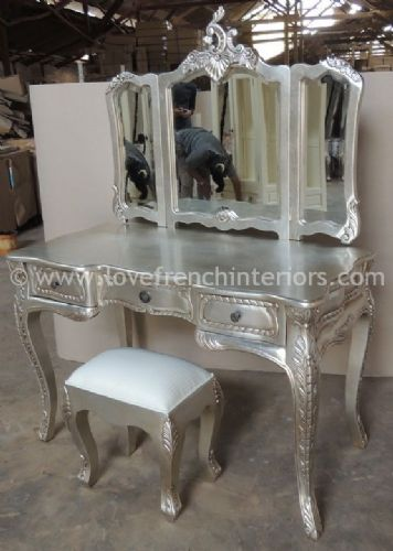 Dressing Table and Triple Rococo Mirror Set